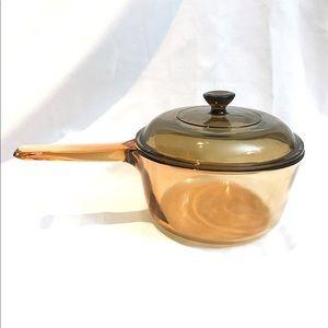 Corning vintage Amber Pyrex cooking pot